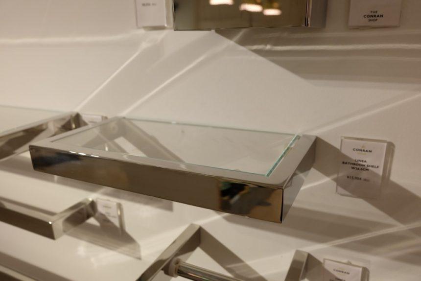 18/10 ステンレス製バスルーム用ガラス棚 ZACK LINEA 40028