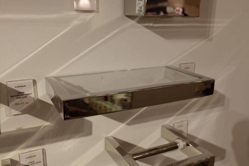 18/10 ステンレス製バスルーム用ガラス棚 ZACK LINEA 40028 26.5cm